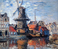 CLAUDE MONET THE WINDMILL ON THE ONBEKENDE CANAL AMSTERDAM ARTIST PAINTING REPRO