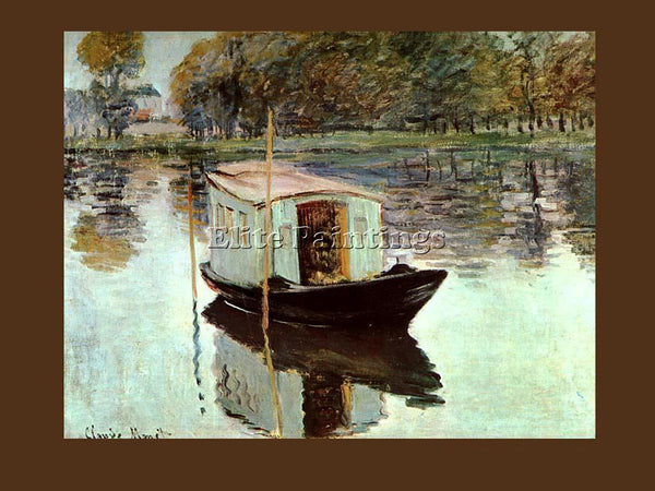 CLAUDE MONET THE STUDIOBOAT 1024 ARTIST PAINTING REPRODUCTION HANDMADE OIL REPRO