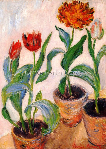 CLAUDE MONET THREE POTS OF TULIPS ARTIST PAINTING REPRODUCTION HANDMADE OIL DECO
