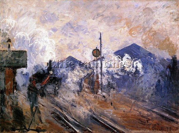 CLAUDE MONET TRACK COMING OUT OF SAINT LAZARE STATION ARTIST PAINTING HANDMADE
