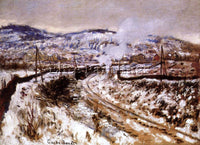 CLAUDE MONET TRAIN IN THE SNOW ARGENTEUIL ARTIST PAINTING REPRODUCTION HANDMADE