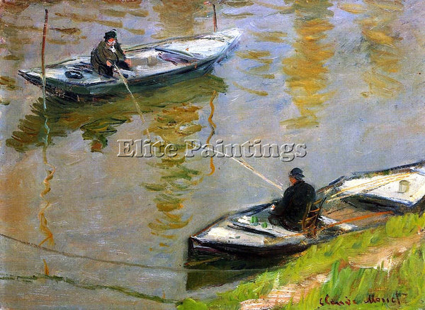CLAUDE MONET TWO ANGLERS ARTIST PAINTING REPRODUCTION HANDMADE CANVAS REPRO WALL