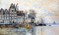 CLAUDE MONET VIEW OF AMSTERDAM ARTIST PAINTING REPRODUCTION HANDMADE OIL CANVAS