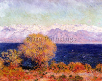 CLAUDE MONET VIEW OF THE BAY AND MARITIME ALPS AT ANTIBES ARTIST PAINTING CANVAS