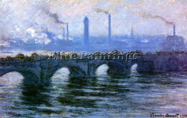 CLAUDE MONET WATERLOO BRIDGE OVERCAST WEATHER 2 ARTIST PAINTING REPRODUCTION OIL