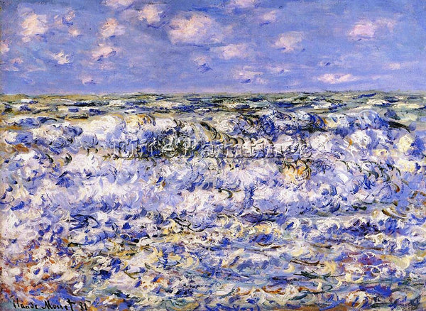 CLAUDE MONET WAVES BREAKING ARTIST PAINTING REPRODUCTION HANDMADE OIL CANVAS ART