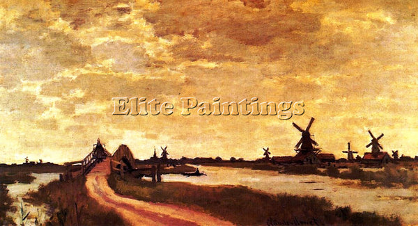 CLAUDE MONET WINDMILLS AT HAALDERSBROEK ZAANDAM ARTIST PAINTING REPRODUCTION OIL