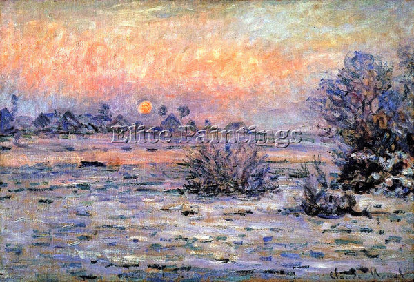 CLAUDE MONET WINTER SUN LAVACOURT ARTIST PAINTING REPRODUCTION HANDMADE OIL DECO