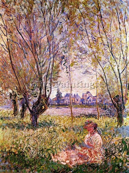 CLAUDE MONET WOMAN SITTING UNDER THE WILLOWS ARTIST PAINTING HANDMADE OIL CANVAS