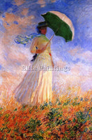 CLAUDE MONET WOMAN WITH A PARASOL FACING RIGHT ARTIST PAINTING REPRODUCTION OIL