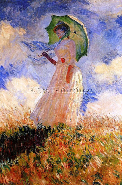CLAUDE MONET WOMAN WITH A PARASOL ARTIST PAINTING REPRODUCTION HANDMADE OIL DECO