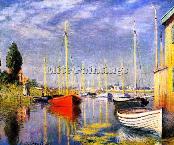 CLAUDE MONET YACHTS AT ARGENTEUIL ARTIST PAINTING REPRODUCTION HANDMADE OIL DECO