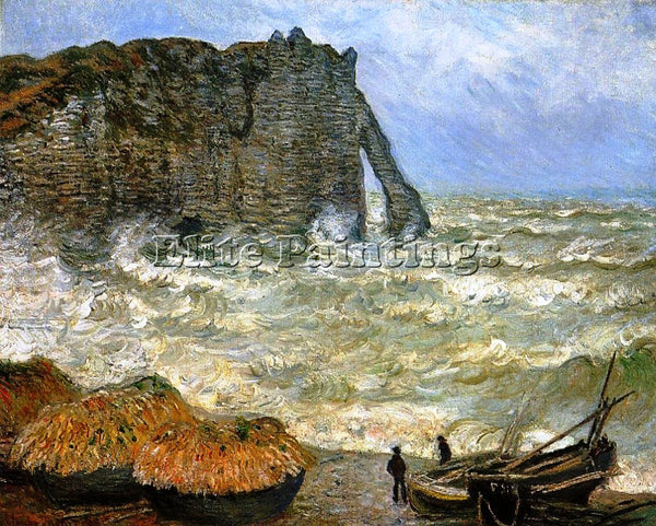 CLAUDE MONET TRETAT ROUGH SEAS ARTIST PAINTING REPRODUCTION HANDMADE OIL CANVAS