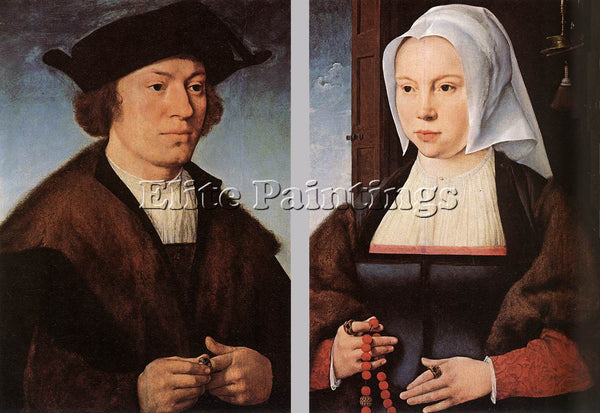 JOOS-VAN CLEVE PORTRAIT OF A MAN AND WOMAN ARTIST PAINTING REPRODUCTION HANDMADE