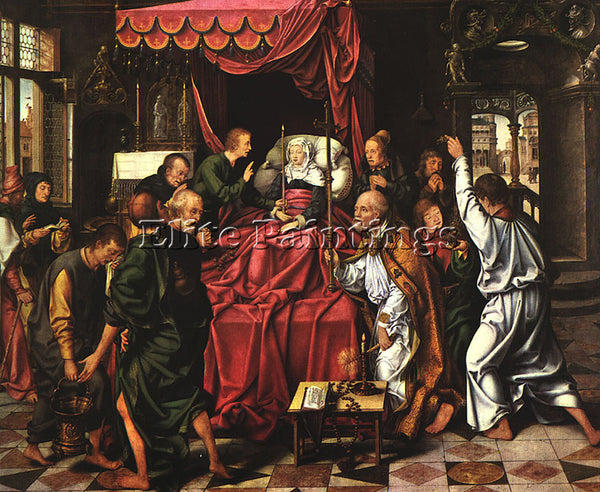 JOOS-VAN CLEVE THE DEATH OF THE VIRGIN ARTIST PAINTING REPRODUCTION HANDMADE OIL