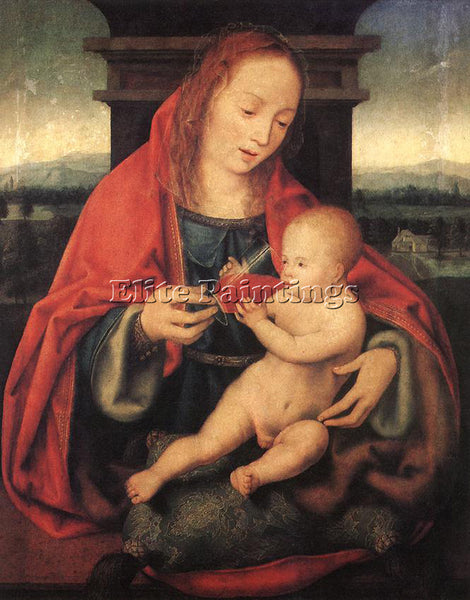 JOOS-VAN CLEVE VIRGIN AND CHILD 1 ARTIST PAINTING REPRODUCTION HANDMADE OIL DECO