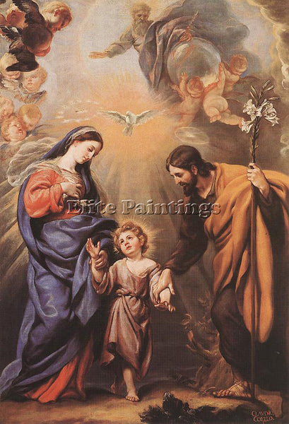 CLAUDIO COELLO HOLY FAMILY ARTIST PAINTING REPRODUCTION HANDMADE OIL CANVAS DECO