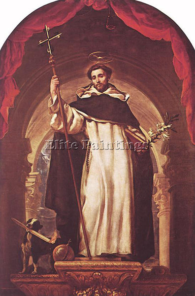 CLAUDIO COELLO ST DOMINIC OF GUZMAN ARTIST PAINTING REPRODUCTION HANDMADE OIL