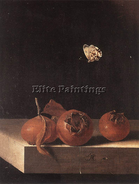 HOLLAND COORTE ADRIAEN THREE MEDLARS WITH A BUTTERFLY ARTIST PAINTING HANDMADE