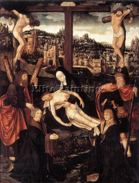 JACOB CORNELISZ VAN OOSTSANEN CRUCIFIXION WITH DONORS AND SAINTS ARTIST PAINTING