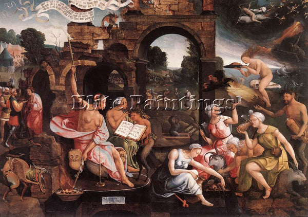 JACOB CORNELISZ VAN OOSTSANEN SAUL AND THE WITCH OF ENDOR ARTIST PAINTING CANVAS
