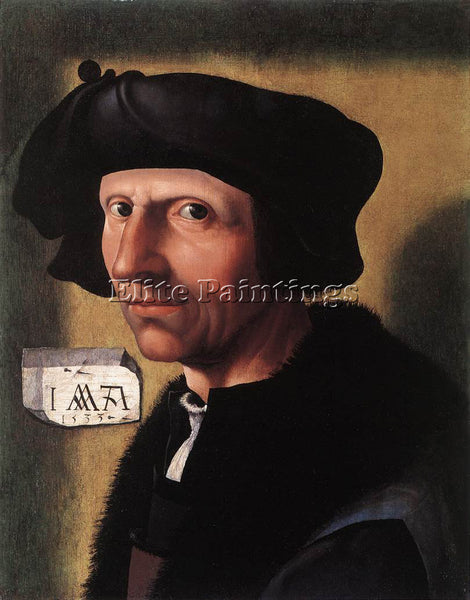 JACOB CORNELISZ VAN OOSTSANEN SELF PORTRAIT ARTIST PAINTING HANDMADE OIL CANVAS