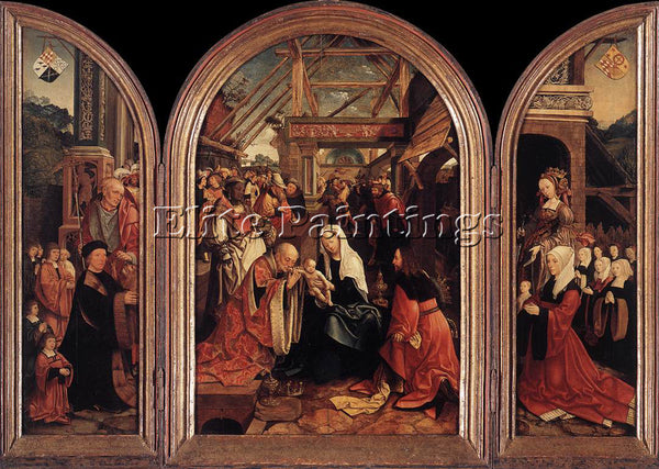 JACOB CORNELISZ VAN OOSTSANEN TRIPTYCH OF THE ADORATION OF THE MAGI PAINTING OIL