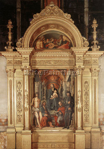 LORENZO COSTA MADONNA AND SAINTS ARTIST PAINTING REPRODUCTION HANDMADE OIL REPRO