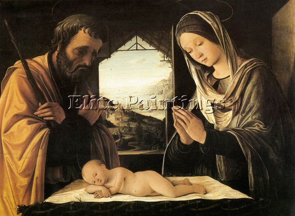 LORENZO COSTA NATIVITY ARTIST PAINTING REPRODUCTION HANDMADE CANVAS REPRO WALL
