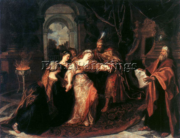BELGIAN COYPEL ANTOINE THE SWOONING OF ESTHER ARTIST PAINTING REPRODUCTION OIL