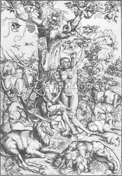 LUCAS CRANACH THE ELDER ADAM AND EVE 1509 ARTIST PAINTING REPRODUCTION HANDMADE
