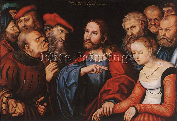LUCAS CRANACH THE ELDER CHRIST AND THE ADULTERESS ARTIST PAINTING REPRODUCTION