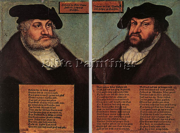 LUCAS CRANACH THE ELDER PORTRAITS OF JOHANN I AND FREDERICK III ARTIST PAINTING