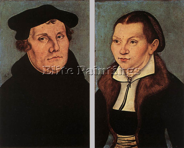LUCAS CRANACH THE ELDER PORTRAITS OF MARTIN LUTHER AND CATHERINE BORE ARTIST OIL