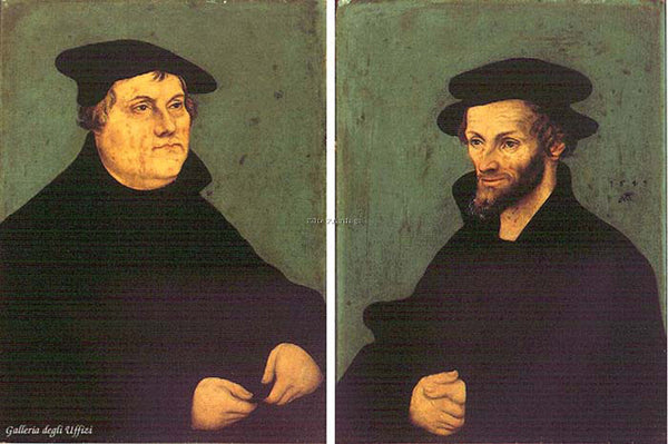 LUCAS CRANACH THE ELDER PORTRAITS MARTIN LUTHER AND PHILIPP MELANCHTHON PAINTING