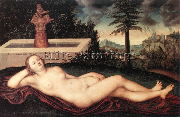 LUCAS CRANACH THE ELDER RECLINING RIVER NYMPH AT THE FOUNTAIN PAINTING HANDMADE