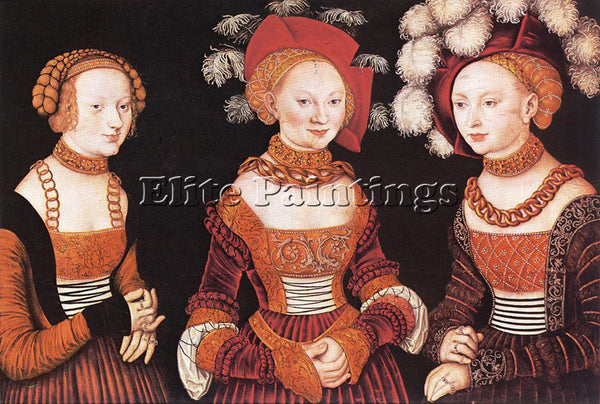 LUCAS CRANACH THE ELDER SAXON PRINCESSES SIBYLLA EMILIA AND SIDONIA PAINTING OIL