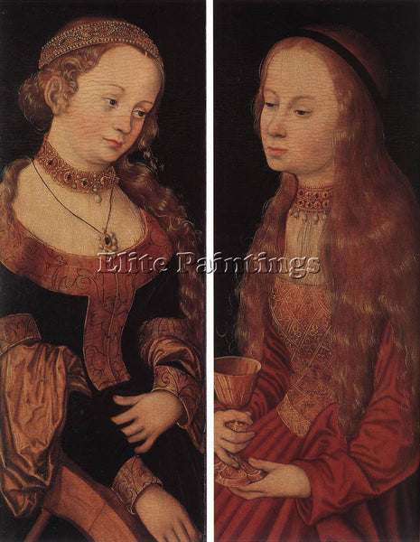 LUCAS CRANACH THE ELDER ST CATHERINE OF ALEXANDRIA AND ST BARBARA ARTIST CANVAS
