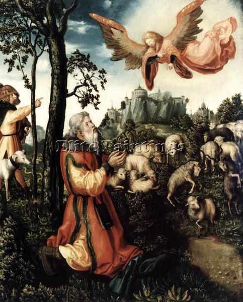 LUCAS CRANACH THE ELDER THE ANNUNCIATION TO JOACHIM ARTIST PAINTING REPRODUCTION
