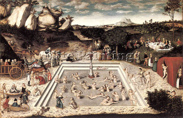 LUCAS CRANACH THE ELDER THE FOUNTAIN OF YOUTH ARTIST PAINTING REPRODUCTION OIL