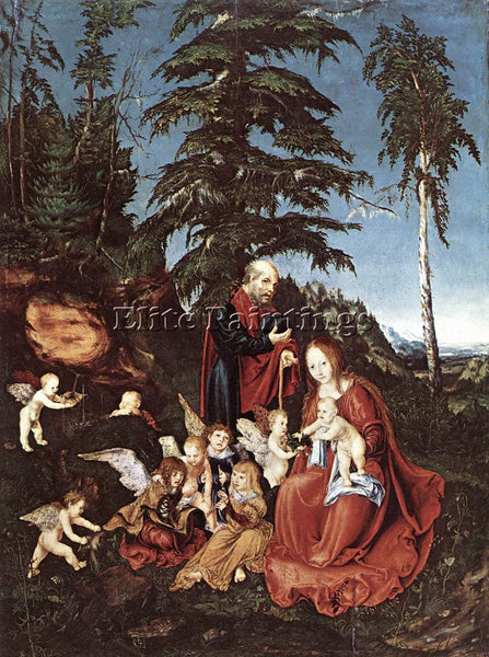 LUCAS CRANACH THE ELDER THE REST ON THE FLIGHT INTO EGYPT ARTIST PAINTING CANVAS