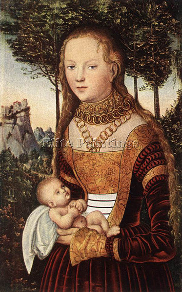 LUCAS CRANACH THE ELDER YOUNG MOTHER AND CHILD ARTIST PAINTING REPRODUCTION OIL