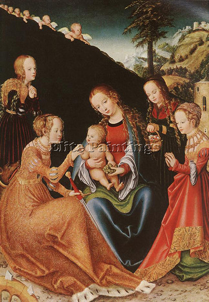 LUCAS CRANACH THE ELDER THE MYSTIC MARRIAGE OF ST CATHERINE ARTIST PAINTING OIL