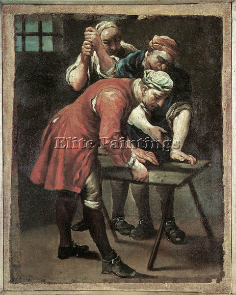 GIUSEPPE MARIA CRESPI  DICE PLAYERS ARTIST PAINTING REPRODUCTION HANDMADE OIL
