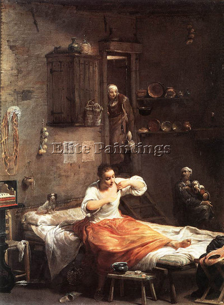 GIUSEPPE MARIA CRESPI  SEARCHER FOR FLEAS ARTIST PAINTING REPRODUCTION HANDMADE