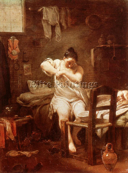 GIUSEPPE MARIA CRESPI  THE FLEA ARTIST PAINTING REPRODUCTION HANDMADE OIL CANVAS