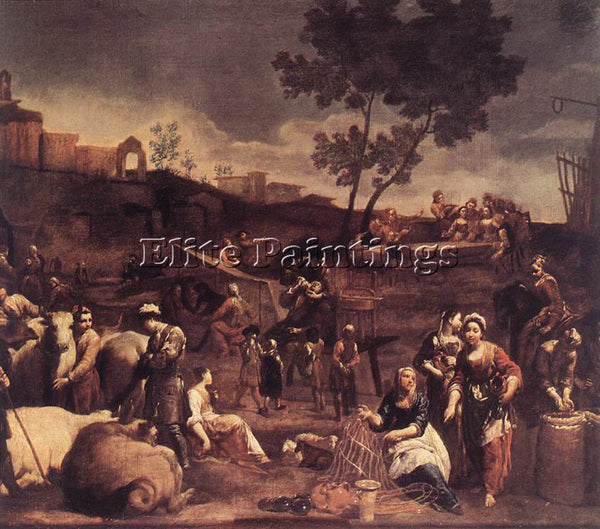 GIUSEPPE MARIA CRESPI  VILLAGE FAIR ARTIST PAINTING REPRODUCTION HANDMADE OIL