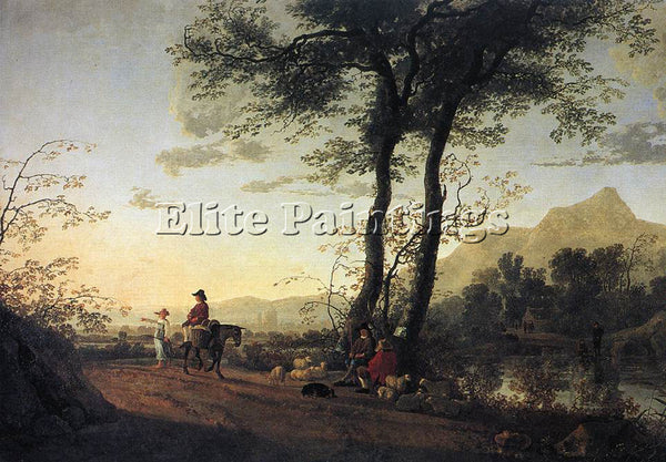 AELBERT CUYP A ROAD NEAR A RIVER ARTIST PAINTING REPRODUCTION HANDMADE OIL REPRO