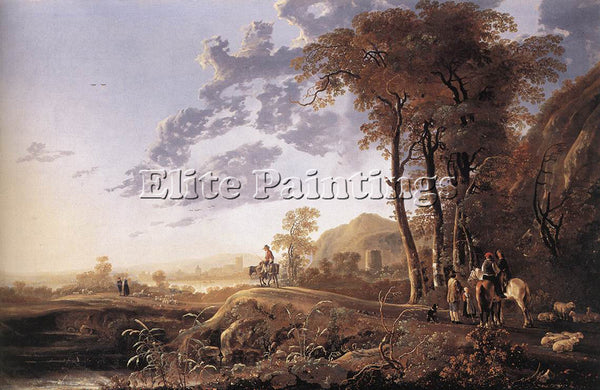 AELBERT CUYP EVENING LANDSCAPE WITH HORSEMEN AND SHEPHERDS ARTIST PAINTING REPRO