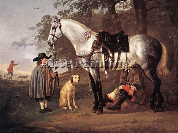 AELBERT CUYP GREY HORSE IN A LANDSCAPE ARTIST PAINTING REPRODUCTION HANDMADE OIL